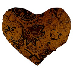 Art Traditional Batik Flower Pattern Large 19  Premium Flano Heart Shape Cushions by BangZart