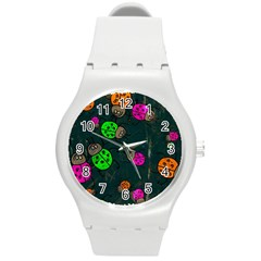 Abstract Bug Insect Pattern Round Plastic Sport Watch (m)