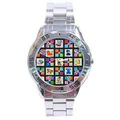Animal Party Pattern Stainless Steel Analogue Watch