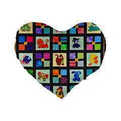 Animal Party Pattern Standard 16  Premium Flano Heart Shape Cushions by BangZart