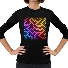 Abstract Small Block Pattern Women s Long Sleeve Dark T Shirts