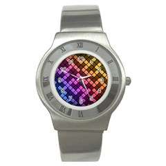 Abstract Small Block Pattern Stainless Steel Watch by BangZart