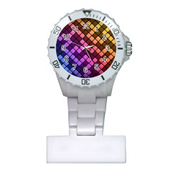 Abstract Small Block Pattern Plastic Nurses Watch by BangZart