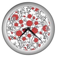 Texture Roses Flowers Wall Clocks (silver)