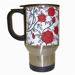 Texture Roses Flowers Travel Mugs (white)