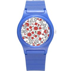 Texture Roses Flowers Round Plastic Sport Watch (s)