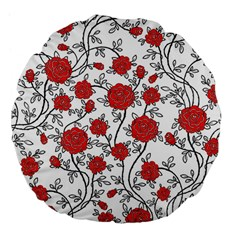 Texture Roses Flowers Large 18  Premium Flano Round Cushions by BangZart