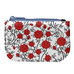Texture Roses Flowers Large Coin Purse