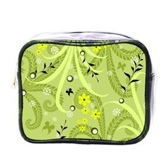Flowers On A Green Background                            Mini Toiletries Bag (one Side) by LalyLauraFLM