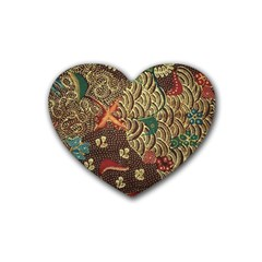 Art Traditional Flower  Batik Pattern Rubber Coaster (heart)  by BangZart