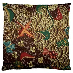 Art Traditional Flower  Batik Pattern Large Flano Cushion Case (one Side) by BangZart