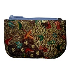 Art Traditional Flower  Batik Pattern Large Coin Purse