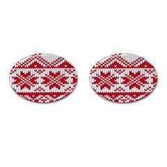 Crimson Knitting Pattern Background Vector Cufflinks (oval) by BangZart