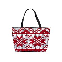 Crimson Knitting Pattern Background Vector Shoulder Handbags by BangZart