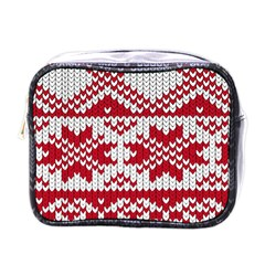 Crimson Knitting Pattern Background Vector Mini Toiletries Bags