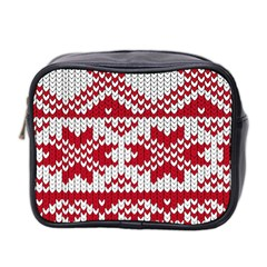 Crimson Knitting Pattern Background Vector Mini Toiletries Bag 2 Side