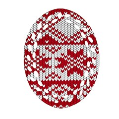 Crimson Knitting Pattern Background Vector Ornament (oval Filigree) by BangZart