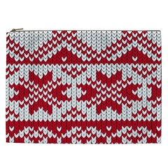 Crimson Knitting Pattern Background Vector Cosmetic Bag (xxl)