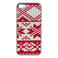 Crimson Knitting Pattern Background Vector Apple Iphone 5 Case (silver) by BangZart