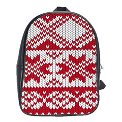 Crimson Knitting Pattern Background Vector School Bags (xl)