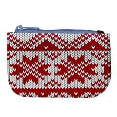 Crimson Knitting Pattern Background Vector Large Coin Purse