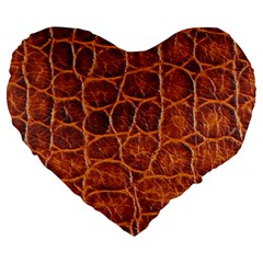 Crocodile Skin Texture Large 19  Premium Heart Shape Cushions by BangZart