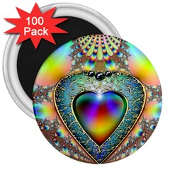 Rainbow Fractal 3  Magnets (100 Pack)
