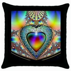 Rainbow Fractal Throw Pillow Case (black) by BangZart