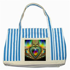 Rainbow Fractal Striped Blue Tote Bag