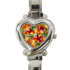 Autumn Leaves Heart Italian Charm Watch by BangZart