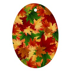 Autumn Leaves Oval Ornament (two Sides) by BangZart