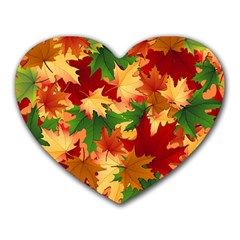 Autumn Leaves Heart Mousepads by BangZart