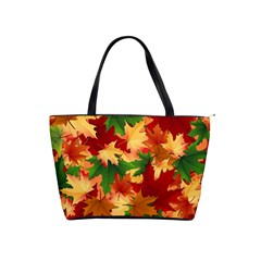 Autumn Leaves Shoulder Handbags by BangZart