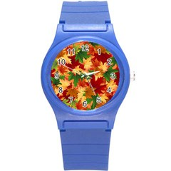 Autumn Leaves Round Plastic Sport Watch (s) by BangZart