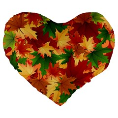 Autumn Leaves Large 19  Premium Heart Shape Cushions by BangZart