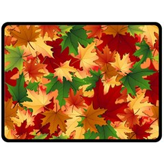 Autumn Leaves Double Sided Fleece Blanket (large)  by BangZart