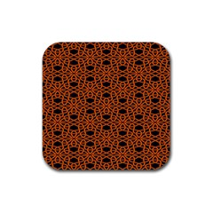 Triangle Knot Orange And Black Fabric Rubber Coaster (square)  by BangZart