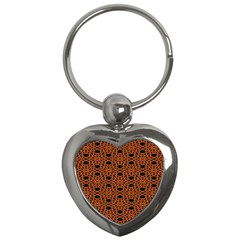 Triangle Knot Orange And Black Fabric Key Chains (heart)