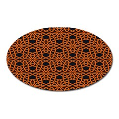 Triangle Knot Orange And Black Fabric Oval Magnet