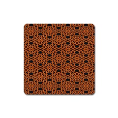 Triangle Knot Orange And Black Fabric Square Magnet