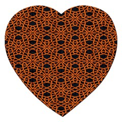 Triangle Knot Orange And Black Fabric Jigsaw Puzzle (heart) by BangZart