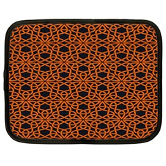 Triangle Knot Orange And Black Fabric Netbook Case (large)