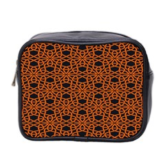 Triangle Knot Orange And Black Fabric Mini Toiletries Bag 2 Side by BangZart