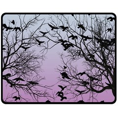 Crow Flock  Fleece Blanket (medium)  by Valentinaart
