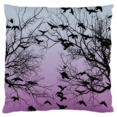 Crow Flock  Large Cushion Case (two Sides) by Valentinaart