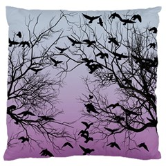 Crow Flock  Large Flano Cushion Case (one Side) by Valentinaart