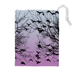 Crow Flock  Drawstring Pouches (extra Large) by Valentinaart