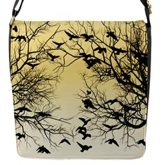 Crow Flock  Flap Messenger Bag (s) by Valentinaart