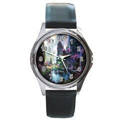 Fantastic World Fantasy Painting Round Metal Watch