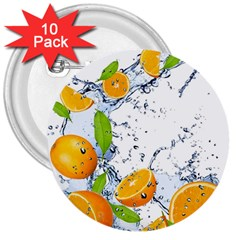 Fruits Water Vegetables Food 3  Buttons (10 Pack)